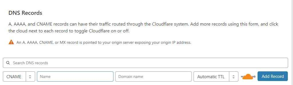 Cloudflare Subdomain Add